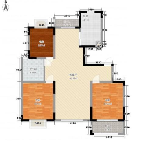 荷花苑3室1厅1卫1厨138.00㎡户型图