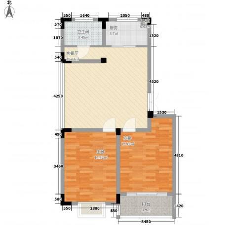 荷花苑2室1厅1卫1厨90.00㎡户型图