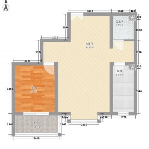 福润康城1室1厅1卫1厨76.00㎡户型图