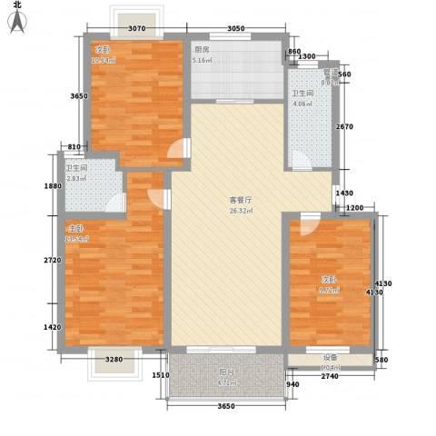 世纪尊园3室1厅2卫1厨112.00㎡户型图