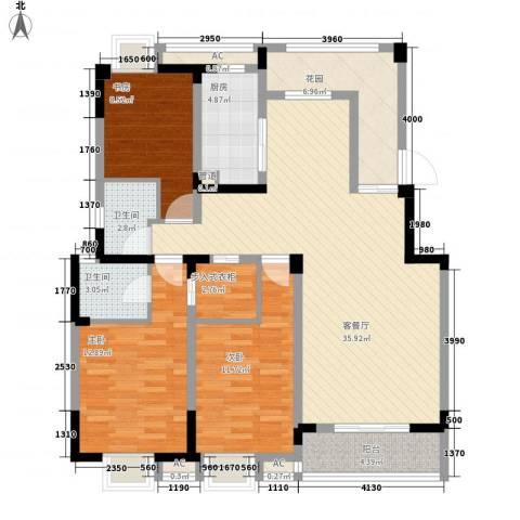 无锡滨湖万达广场3室1厅2卫1厨141.00㎡户型图