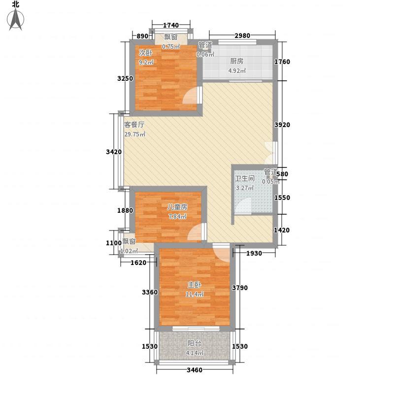 福润康城102.42㎡福润康城户型图三室两厅一卫3室2厅1卫户型3室2厅1卫