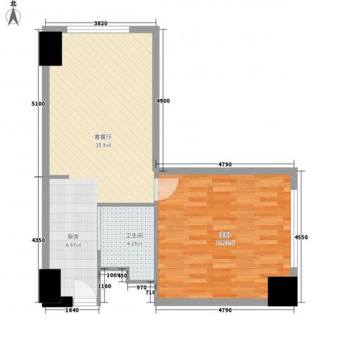 美加华公寓1室1厅1卫0厨70.00㎡户型图