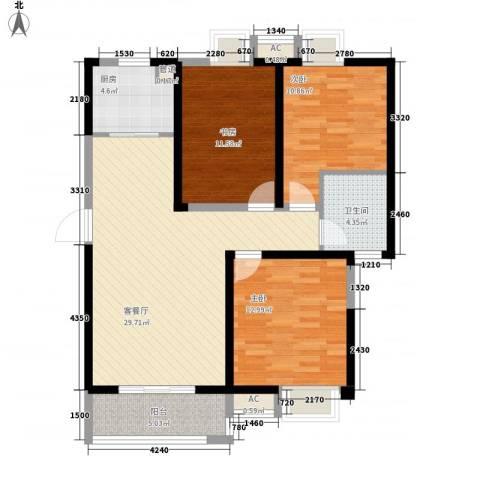 无锡滨湖万达广场3室1厅1卫1厨116.00㎡户型图