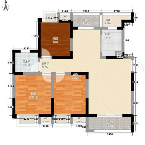 无锡滨湖万达广场3室1厅1卫1厨112.00㎡户型图