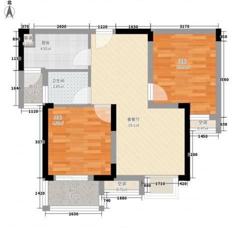 阳光棕榈园二期2室1厅1卫1厨76.00㎡户型图