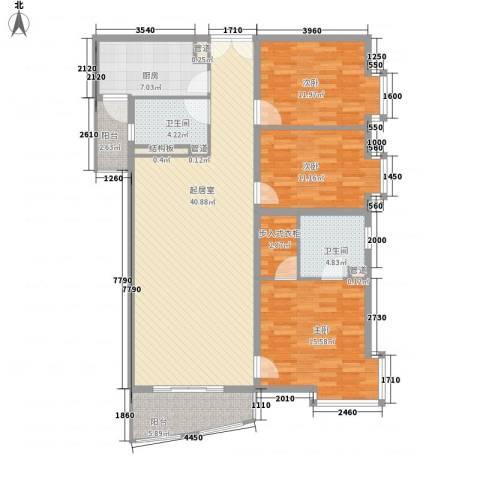 富海中心公寓3室0厅2卫1厨154.00㎡户型图