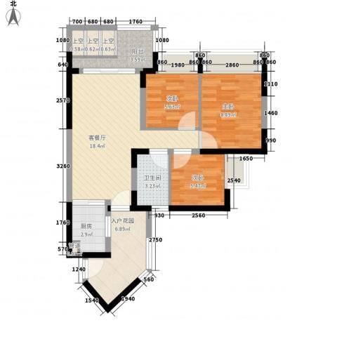 新德家园3室1厅1卫1厨85.00㎡户型图