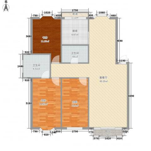 龙珍阁3室1厅2卫1厨113.80㎡户型图