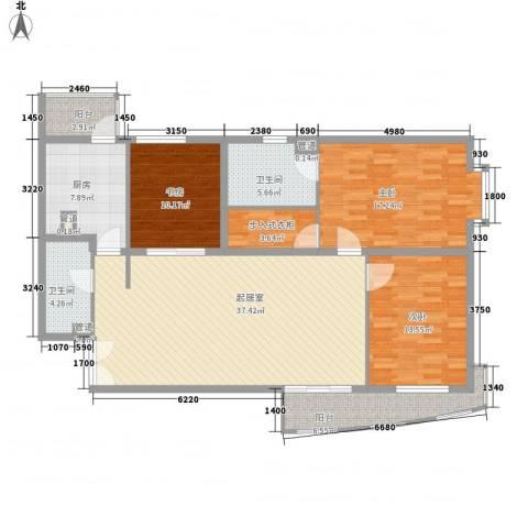 富海中心公寓3室0厅2卫1厨149.00㎡户型图