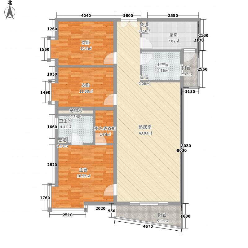 富海中心公寓154.47㎡D座E户型3室2厅2卫1厨