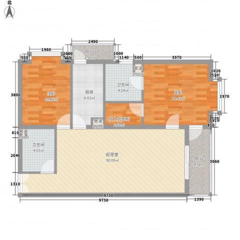 富海中心公寓2室0厅2卫1厨125.00㎡户型图