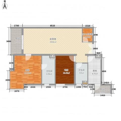 富海中心公寓2室0厅2卫1厨129.00㎡户型图
