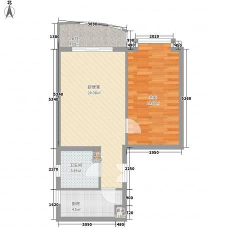 富海中心公寓1室0厅1卫1厨69.00㎡户型图