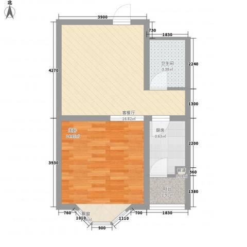 宽城1室1厅1卫1厨56.00㎡户型图