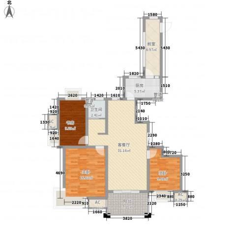 绿地世纪城・塞纳公馆3室1厅1卫1厨134.00㎡户型图
