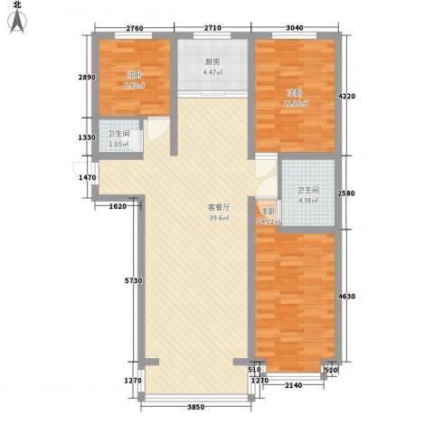 宽城3室1厅2卫1厨118.00㎡户型图