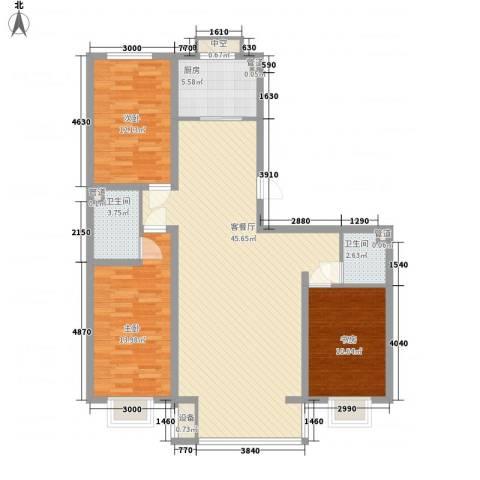 宽城3室1厅2卫1厨116.00㎡户型图