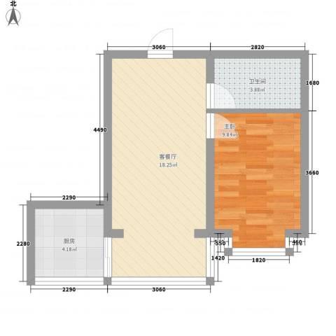 宽城1室1厅1卫1厨53.00㎡户型图