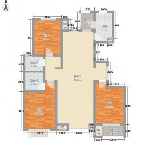 大有容园3室1厅2卫1厨136.00㎡户型图