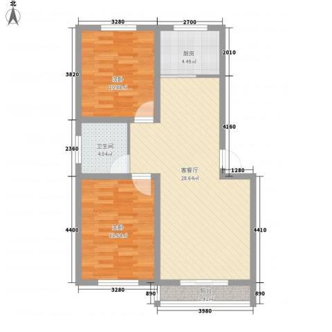 温泉四季花城2室1厅1卫1厨100.00㎡户型图