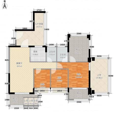 阳光棕榈园二期3室1厅2卫1厨124.26㎡户型图