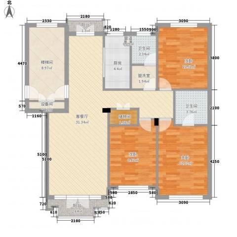 星海中龙园3室1厅2卫1厨130.00㎡户型图