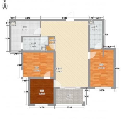 雅戈尔东湖花园3室1厅2卫1厨133.00㎡户型图