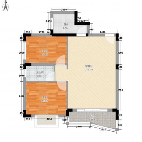 御景名苑2室1厅1卫1厨77.00㎡户型图