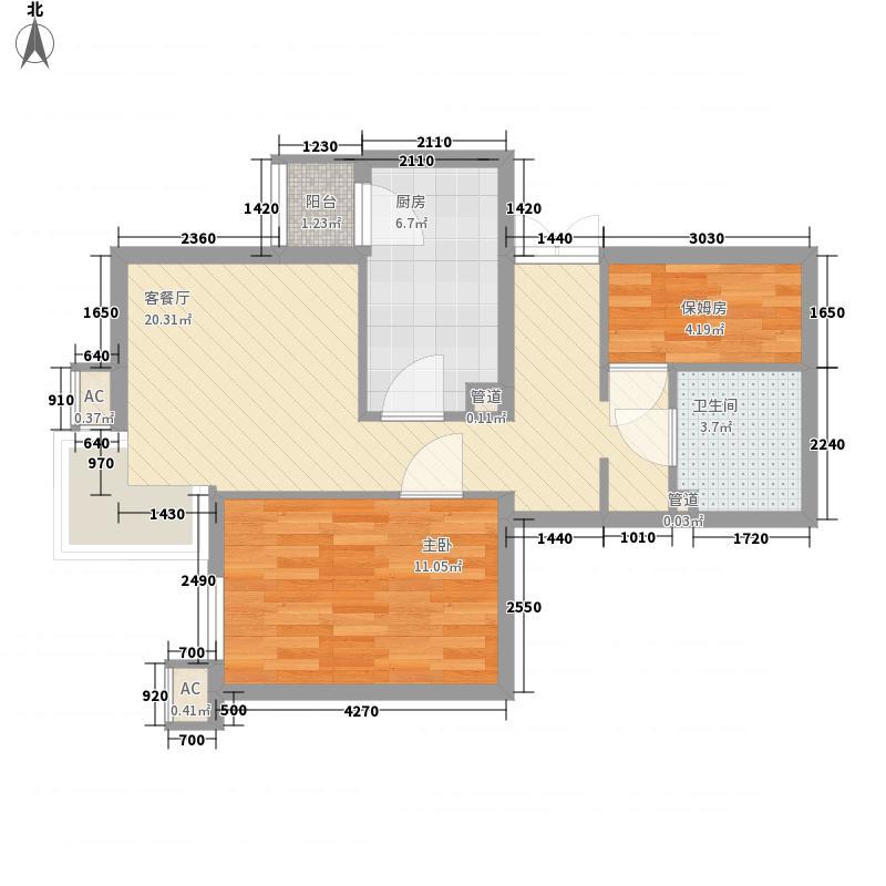 上东上品67.82㎡塔楼D户型2室2厅1卫1厨