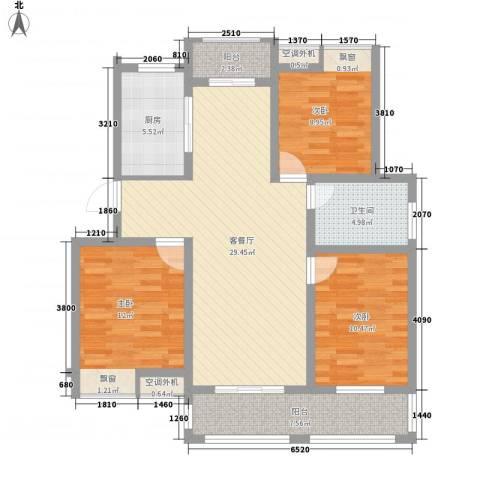 金水湾花园3室1厅1卫1厨120.00㎡户型图