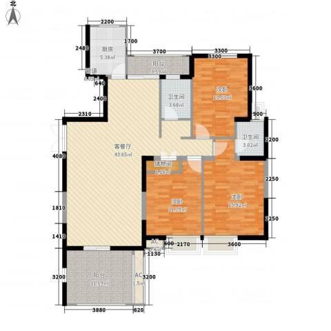 红谷春天3室1厅2卫1厨146.00㎡户型图