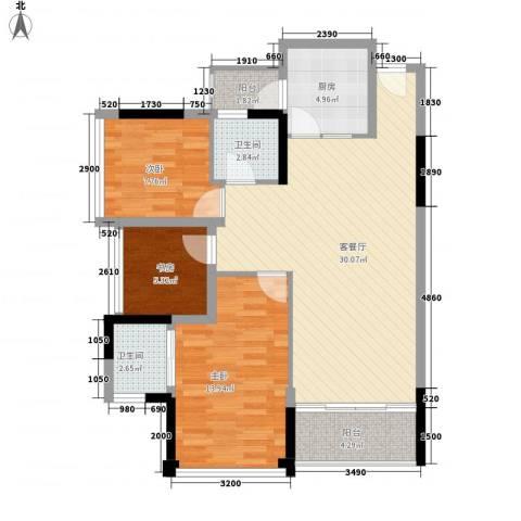 鼎峰品筑二期3室1厅2卫1厨90.00㎡户型图