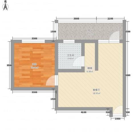 古镇庭苑1室1厅1卫0厨48.00㎡户型图