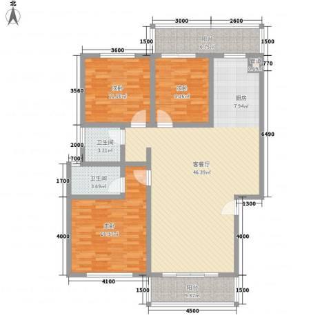 古镇庭苑3室1厅2卫0厨125.00㎡户型图
