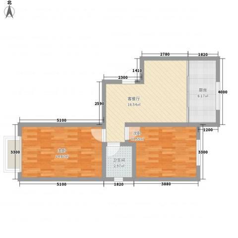 亚泰大街回迁小区2室1厅1卫1厨75.00㎡户型图