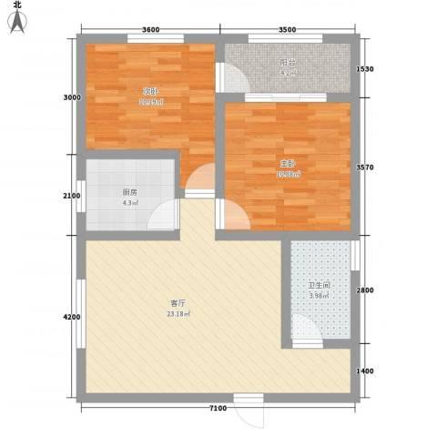 梦驼梁2室1厅1卫1厨66.06㎡户型图