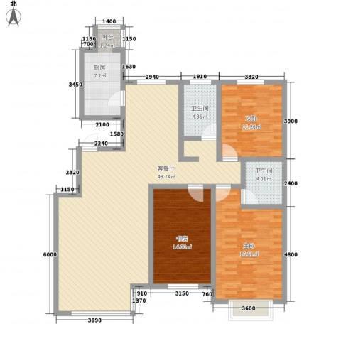 亚泰大街回迁小区3室1厅2卫1厨122.20㎡户型图