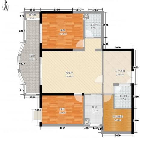 禹洲世纪海湾2室1厅2卫1厨136.00㎡户型图