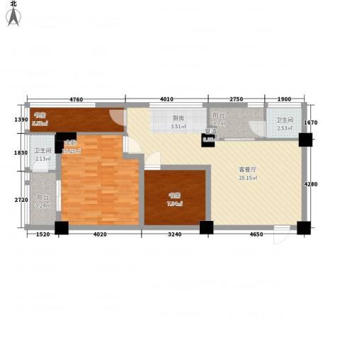 环球时代3室1厅2卫0厨97.00㎡户型图
