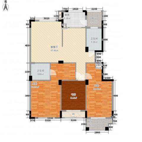 名仕花园3室1厅2卫1厨138.00㎡户型图