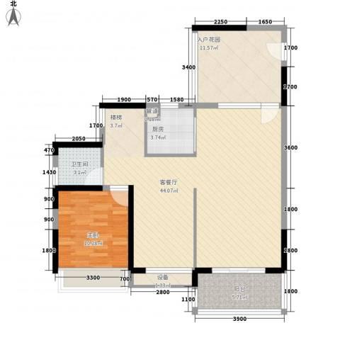 祥利上城1室1厅1卫1厨142.00㎡户型图