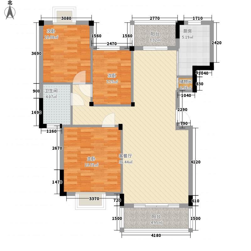南国明珠二期121.53㎡三期5、9栋F户型3室2厅1卫1厨