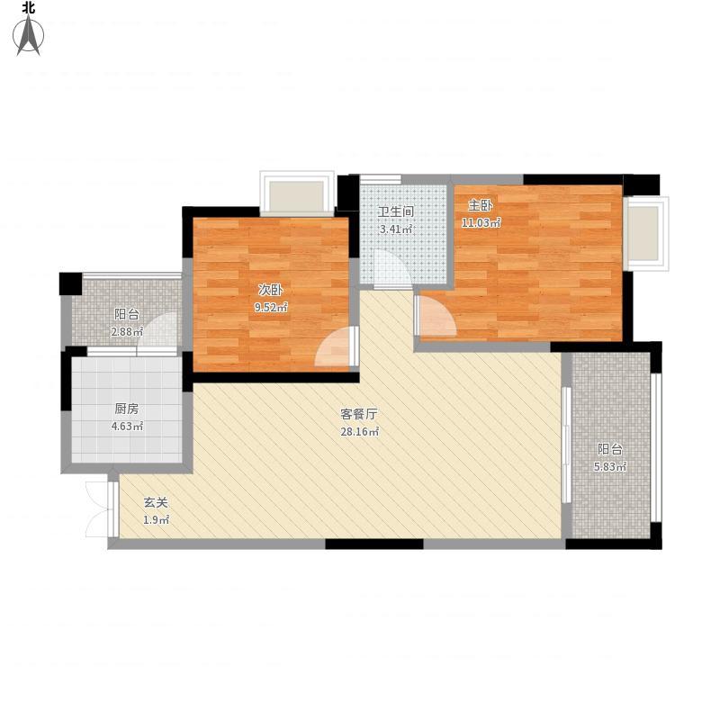 和睦人家B2户型2室2厅1卫84.98平米