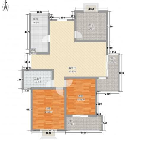 金色新城熙园2室1厅1卫1厨131.00㎡户型图