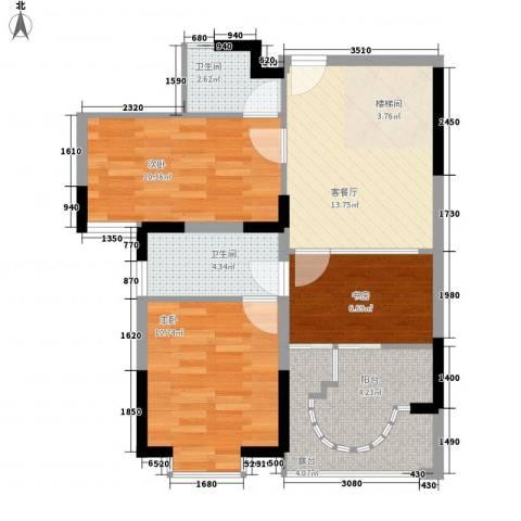 闽东国际城3室1厅2卫0厨80.00㎡户型图