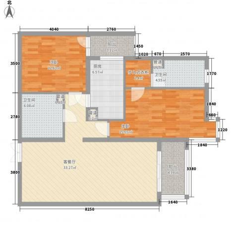 北苑家园莲葩园2室1厅2卫1厨126.00㎡户型图