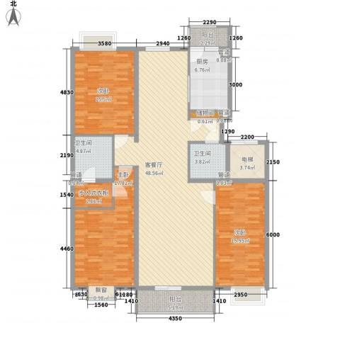 银谷美泉家园3室1厅2卫1厨180.00㎡户型图