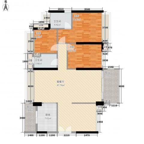 祥利上城3室1厅2卫1厨108.58㎡户型图