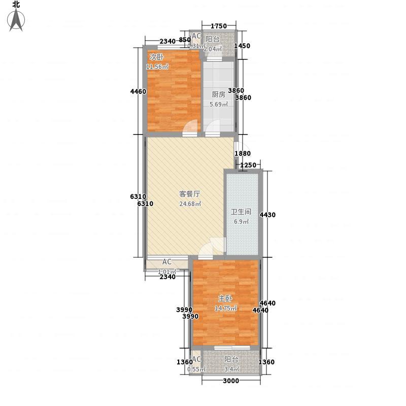 上东上品108.00㎡板楼A、B户型2室2厅1卫1厨